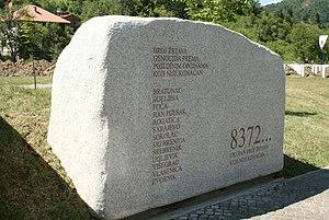 Srebrenica massacre - Srebrenica Genocide Memorial Stone at Potočari
