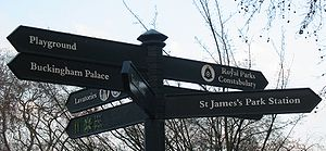 Royal Parks Constabulary - The Royal Parks Constabulary signposted in St. James's Park, London