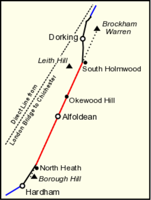 Stane Street (Chichester) - Map of the longest limb between South Holmwood and North Heath, showing the survey line from Brockham Warren to Borough Hill.