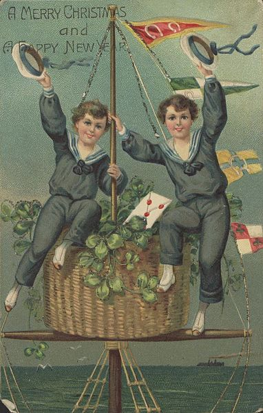 File:StateLibQld 1 214520 Christmas greeting card showing two boys waving from the crow's nest of a ship.jpg