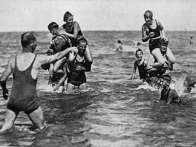 File:StateLibQld 2 96080 Young people playing in the sea, 1933.jpg