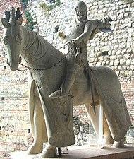 Equestrian statue of Cangrandes I in the Museum of Castelvecchio in Verona