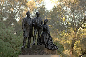 History of Stanford University - Statue of the Stanford family, by Larkin G. Mead (1899)