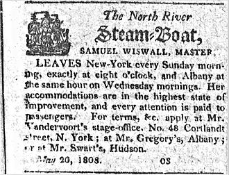 North River Steamboat - Advertisement for the North River Steamboat in 1808
