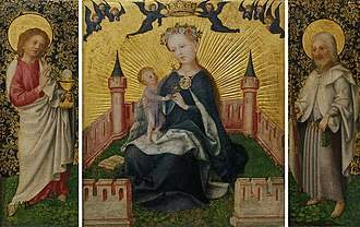 Stefan Lochner - Triptych with the Virgin in the Garden of Paradise, c. 1445–50. Wallraf-Richartz-Museum, Cologne