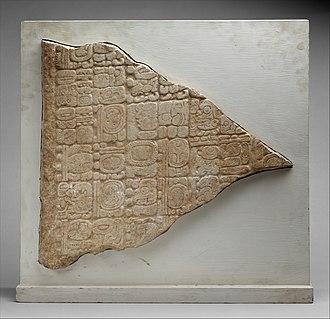 Tortuguero (Maya site) - Fragment of Monument 6 from Tortuguero, today in Metropolitan Museum of Art in New York.