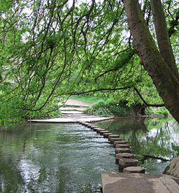Wide river flowing from right to left. A series of seventeen hexagonal stepping stones lead across the river to the opposite bank in the distance.  Three wide low steps on the opposite bank leading from the river.            =