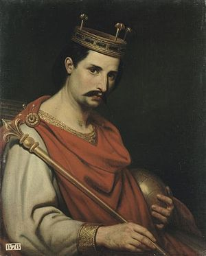 Judith of Bavaria (died 843) - Charles The Bald, French painting, 19th century, unknown painter