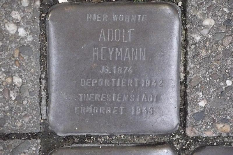 File:Stolperstein Duisburg 400 Ruhrort Landwehrstraße 21 Adolf Heymann.jpg