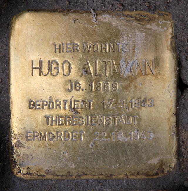 Photo of Hugo Altmann brass plaque