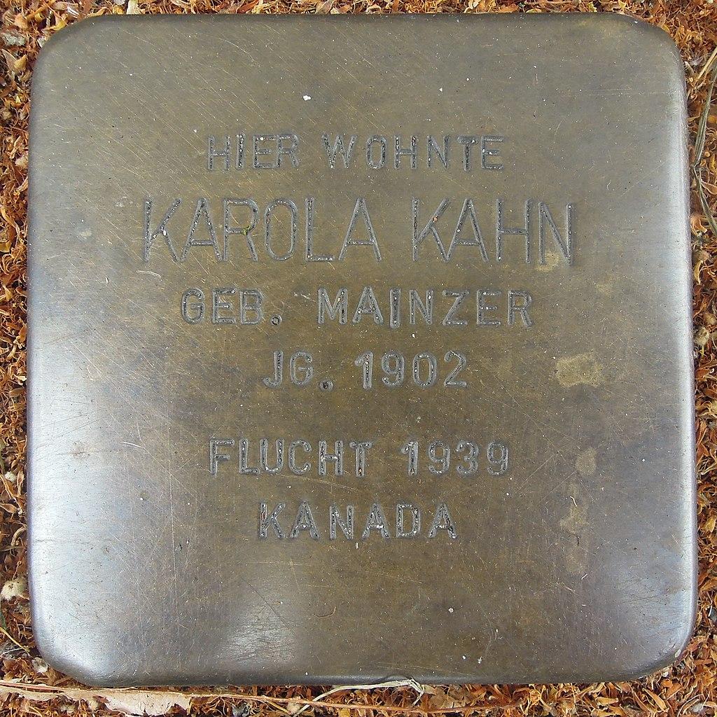 Stolperstein für Karola Kahn geb. Mainzer