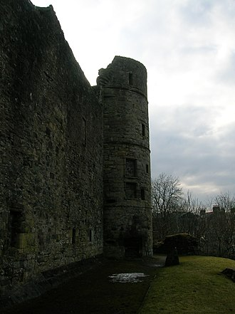 Strathaven Castle - A view of the west tower.