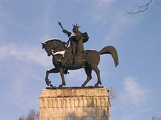 Moldavia - Equestrian statue of Moldavian Prince Stephen the Great in Suceava