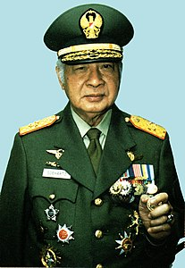 Suharto with military uniform, 1997.jpg