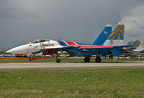 Sukhoi Su-35 of Russian Knights in 2007.jpg