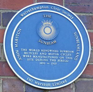 Sunbeam Cycles - Blue Plaque awarded by Wolverhampton Civic Society attached to the Sunbeamland works