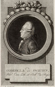 Gottfried van Swieten. Photograph of an engraving thought to be by Johann Georg Mansfeld, based on a drawing by Lakner. Archive of Beethoven House, Bonn. (Source: Wikimedia)