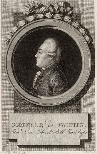 Gottfried van Swieten - Gottfried van Swieten. Photograph of an engraving thought to be by Johann Georg Mansfeld, based on a drawing by Lakner. Archive of Beethoven Haus Bonn.