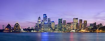 English: A panoramic view of the Sydney skylin...