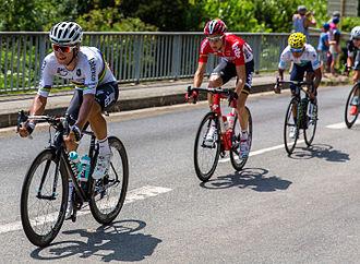 Michał Kwiatkowski - Kwiatkowski, wearing the rainbow jersey as the incumbent world champion, at the 2015 Tour de France