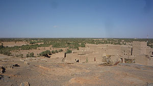 Panorama of the oasis of Tafilalet, seen from the ksar of Tingheras (Rissani).