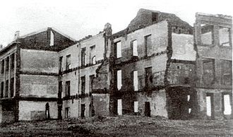 Gully of Petrushino - Ruins of the Taganrog school no.27 in 1943. This is the building where the Jews of Taganrog came to register prior to be taken to the Gully of Petrushino.