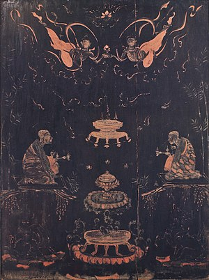Japanese lacquerware - Detailed view of a lacquer panel of the Tamamushi Shrine from the Asuka period, 7th century (National Treasure)