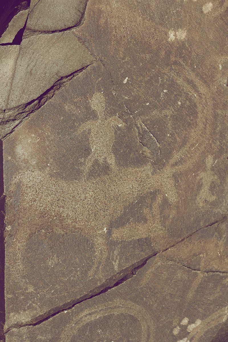Tamgaly Petroglyphs Human Riding a Deer.jpg