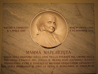 Basilica of Our Lady Help of Christians, Turin - Commemorative plaque for Don Bosco's mother, Mamma Margherita