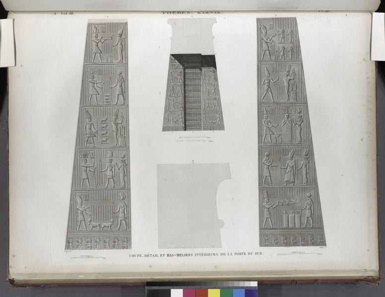 File th bes karnak coupe d tail et bas reliefs for Portes interieurs