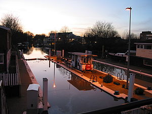 Grand Union Canal - The Thames Lock on the Grand Union Canal, Brentford, West London. Photo taken in twilight at the peak of a spring tide