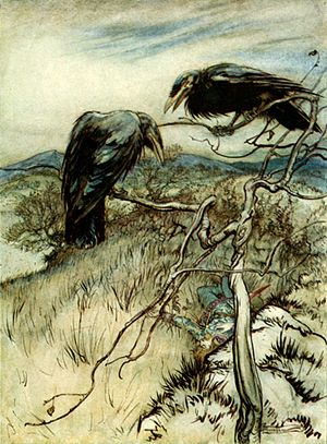 "Child Ballads - Illustration by Arthur Rackham   of Child Ballad 26, ""The Twa Corbies"""