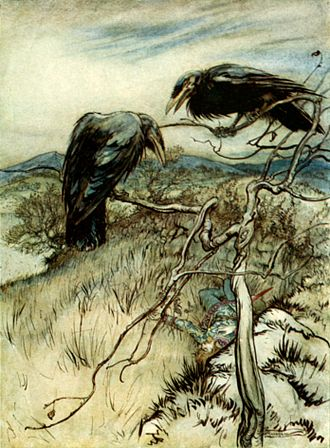 "Ballad - Illustration by Arthur Rackham of the Scots ballad ""The Twa Corbies"""