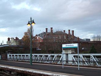 HM Prison Shrewsbury - The Dana prison, viewed from Shrewsbury's railway station