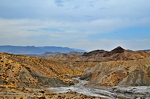Tabernas Desert - A view of the badlands in the Granada Plateau (Guadix Depression).
