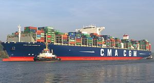 CMA CGM Zheng He - The CMA CGM Zheng He on the Elbe