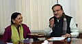 The Chief Minister of Gujarat, Smt. Anandiben Patel meeting the Union Minister for Chemicals and Fertilizers, Shri Ananthkumar, in New Delhi on December 22, 2014.jpg