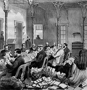 Dead letter office - Dead letter office at Washington, D.C.; an 1868 wood engraving