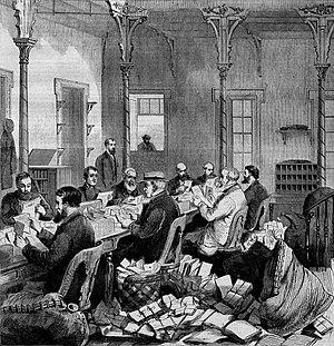 Dead letter office - Dead letter office at Washington, D.C.; an 1868 wood engraving