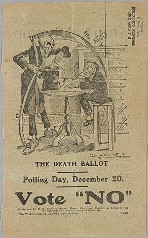 "Australian conscription referendum, 1917 - ""The Death Ballot"", a campaign poster for the ""No"" vote."