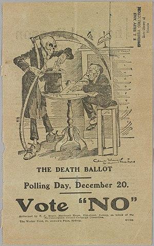 "Australian conscription referendum, 1917 - ""The Death Ballot"", a campaign poster for the ""No"" vote."