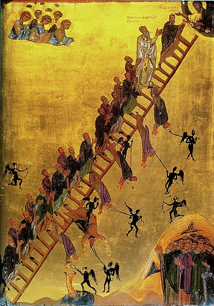 John Climacus is shown at the top of theThe Ladder of Divine Ascent, with other monks following him, 12th century icon (Saint Catherine's Monastery, Mount Sinai, Egypt). The Ladder of Divine Ascent Monastery of St Catherine Sinai 12th century.jpg