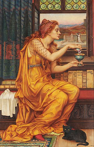 "Familiar spirit - ""The Love Potion"" by Evelyn De Morgan: a witch with a black cat familiar at her feet."