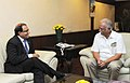 The Minister in PMO, Trade & Industry, Republic of Singapore, Mr. S. Iswaran meeting the Union Minister for Civil Aviation, Shri Ashok Gajapathi Raju Pusapati, in New Delhi on September 09, 2014.jpg