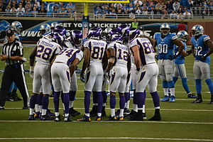 Huddle - The Minnesota Vikings offense in a huddle