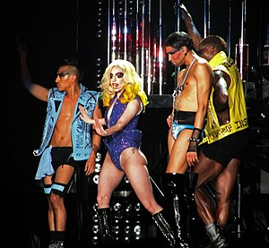 "Just Dance (song) - Gaga performing ""Just Dance"" during the 2010 leg of The Monster Ball Tour"
