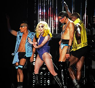 """Just Dance (song) - Gaga performing """"Just Dance"""" during the revamped Monster Ball concert series, in 2010"""