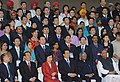 The President, Dr. A.P.J. Abdul Kalam, the President of the People's Republic of China, Mr. Hu Jintao, and his wife Mrs. Liu Yongqing with the Indo-China Youth delegation, in New Delhi on November 21, 2006.jpg