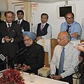 The Prime Minister, Dr. Manmohan Singh addressing the accompanying media onboard on his way back to Delhi after the BRICS Summit and Kazakhstan visit on April 16, 2011.jpg