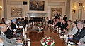 The Prime Minister, Dr. Manmohan Singh and the President of the Republic of France, Mr. Francois Hollande, at the delegation level talks, in New Delhi on February 14, 2013.jpg